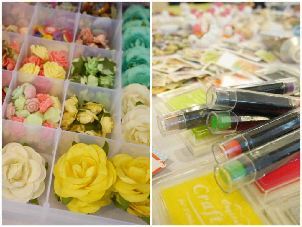 Paper flowers, resin flowers and coloured markers